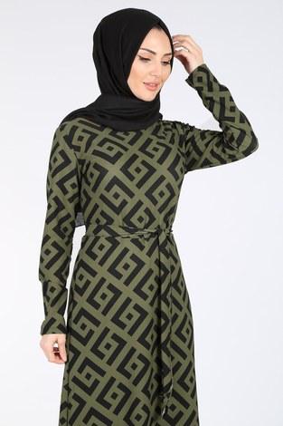 - Desenli Kuşaklı Elbise 8508-405-3 Haki (1)