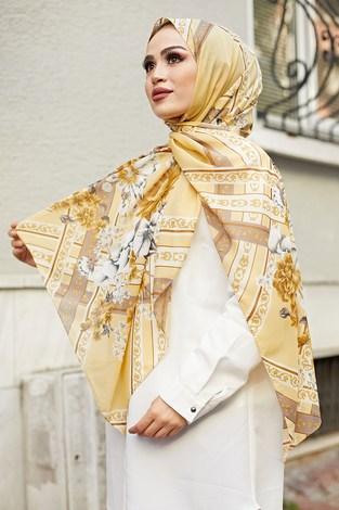 - Desenli Şifon Şal 1356-5 Sarı