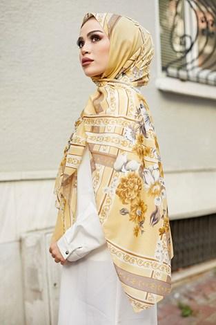 - Desenli Şifon Şal 1356-5 Sarı (1)