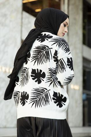 Palmiye Desenli Tesettür Hırka Beyaz - Thumbnail
