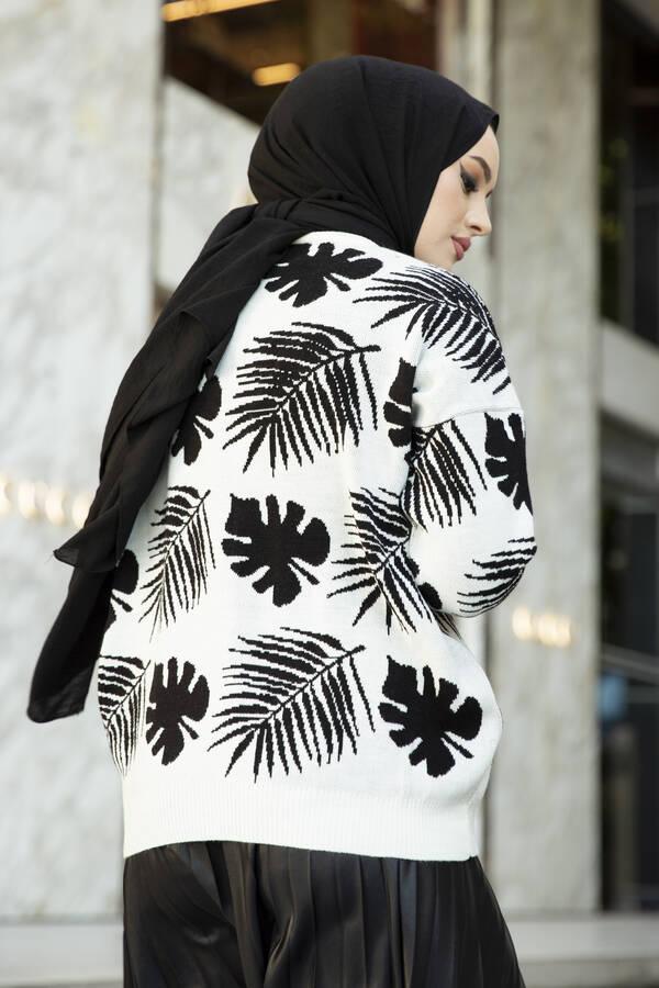 Palmiye Desenli Tesettür Hırka Beyaz