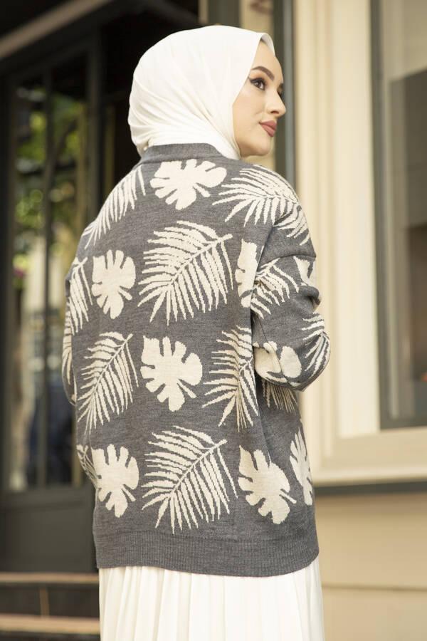 Palmiye Desenli Tesettür Hırka Gri