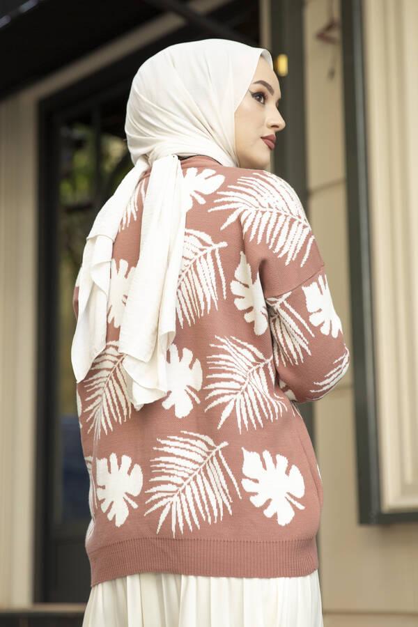 Palmiye Desenli Tesettür Hırka Gülkurusu