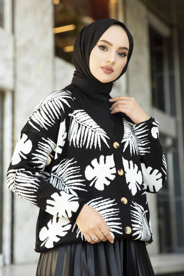 Palmiye Desenli Tesettür Hırka Siyah