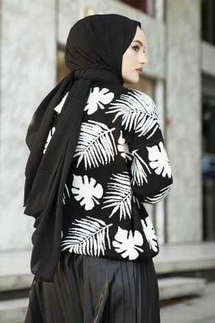 Palmiye Desenli Tesettür Hırka Siyah - Thumbnail
