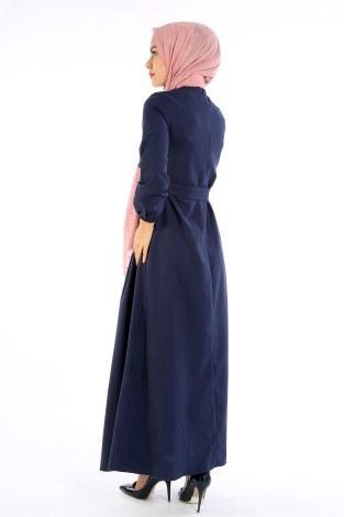 Nakış Detaylı Kuşaklı Elbise 4131-01 - Thumbnail