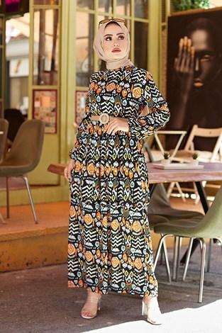 - Desenli Yazlık Tesettür Elbise 1450-1