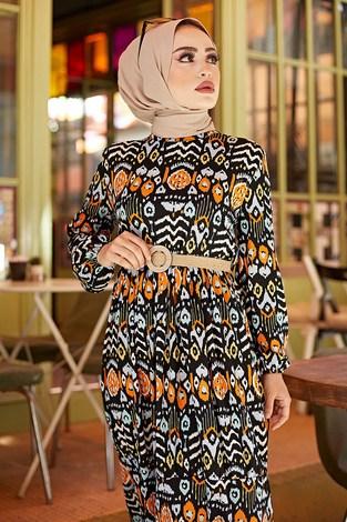 - Desenli Yazlık Tesettür Elbise 1450-1 (1)