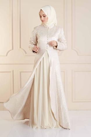 EMODA - Dik Yaka Abiye Elbise 410E9606 Vizon