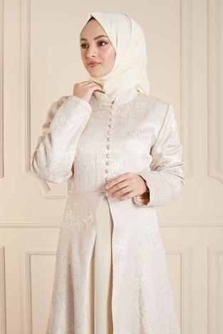 EMODA - Dik Yaka Abiye Elbise 410E9606 Vizon (1)
