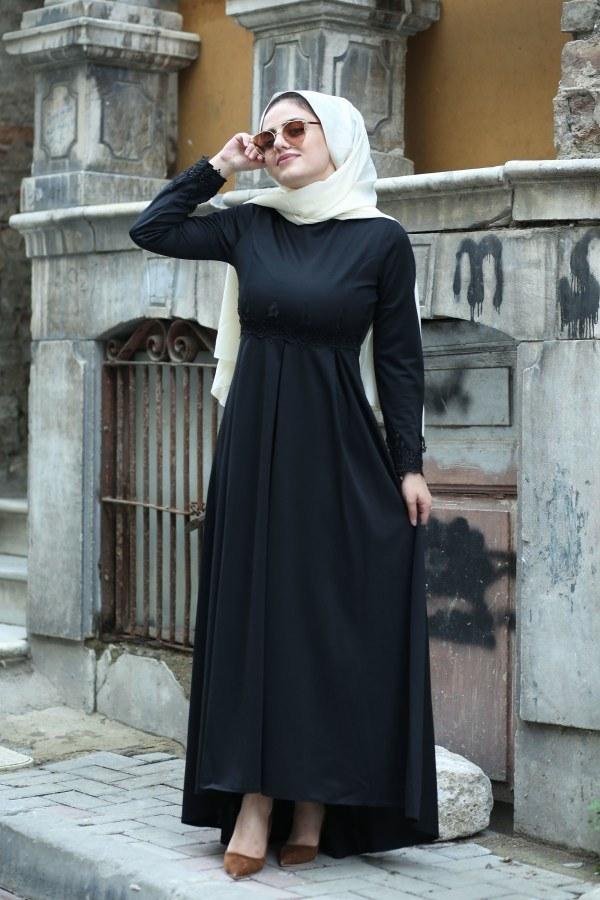 Dantelli Abiye Elbise MPR4454-1-siyah
