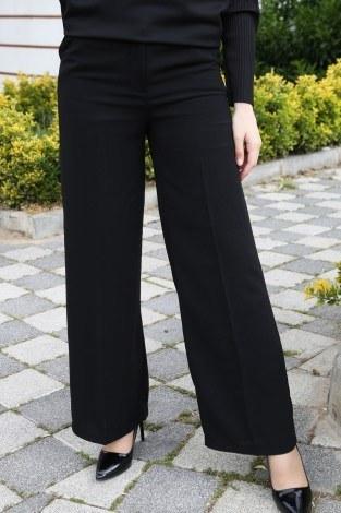 Dökümlü Keten Pantolon 6450-1-siyah (1)