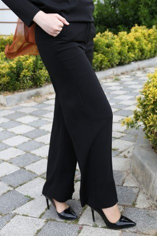 Dökümlü Keten Pantolon 6450-1-siyah - Thumbnail