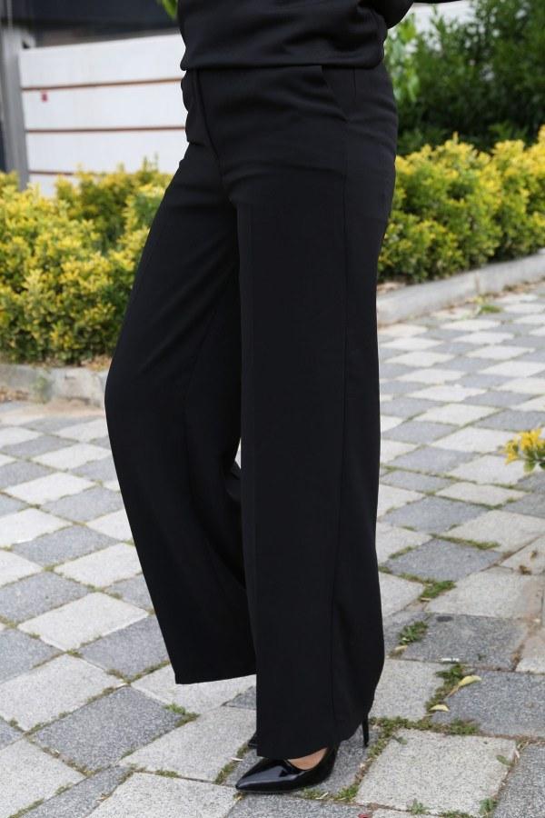 Dökümlü Keten Pantolon 6450-1-siyah