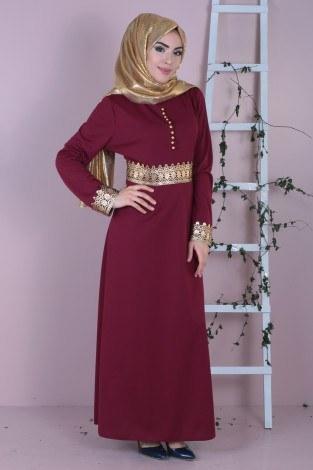 - Dövmeli Varaklı Elbise 8973-3