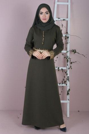 - Dövmeli Varaklı Elbise 8973-4