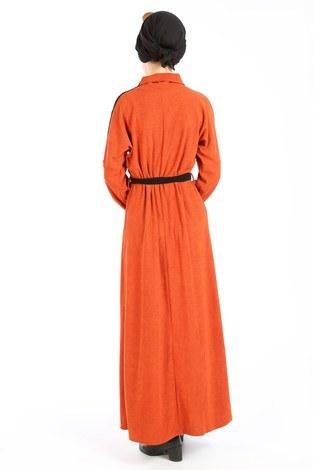 Düğme Detaylı Balıkçı Yaka Elbise 5932-15 taba - Thumbnail