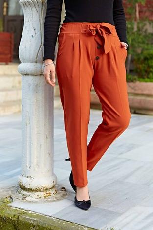 Düğme Detaylı Double Pantolon 190E-2118 Taba - Thumbnail