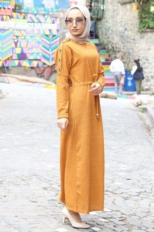 - Düğme Detaylı Triko Elbise 15560-10 hardal