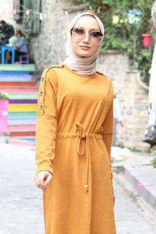 - Düğme Detaylı Triko Elbise 15560-10 hardal (1)