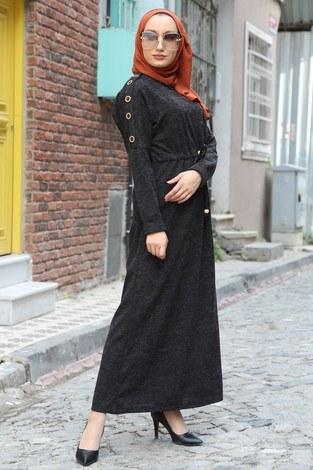 - Düğme Detaylı Triko Elbise 15560-21 füme