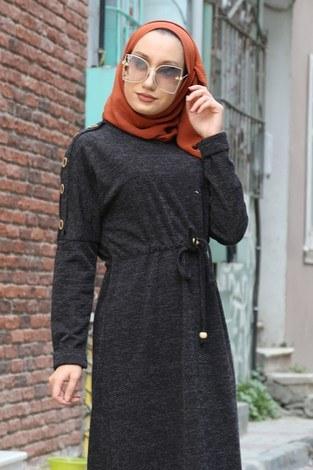 - Düğme Detaylı Triko Elbise 15560-21 füme (1)