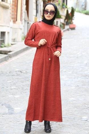 - Düğme Detaylı Triko Elbise 15560-15 taba