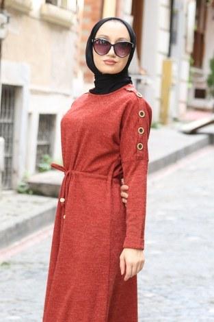 - Düğme Detaylı Triko Elbise 15560-15 taba (1)