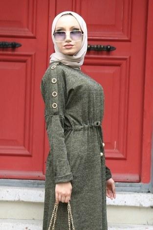 - Düğme Detaylı Triko Elbise 15560-04 haki (1)