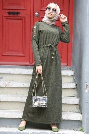 - Düğme Detaylı Triko Elbise 15560-04 haki