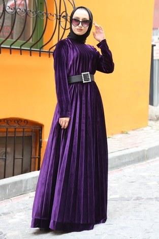 - Piliseli Kadife Elbise 01923-13