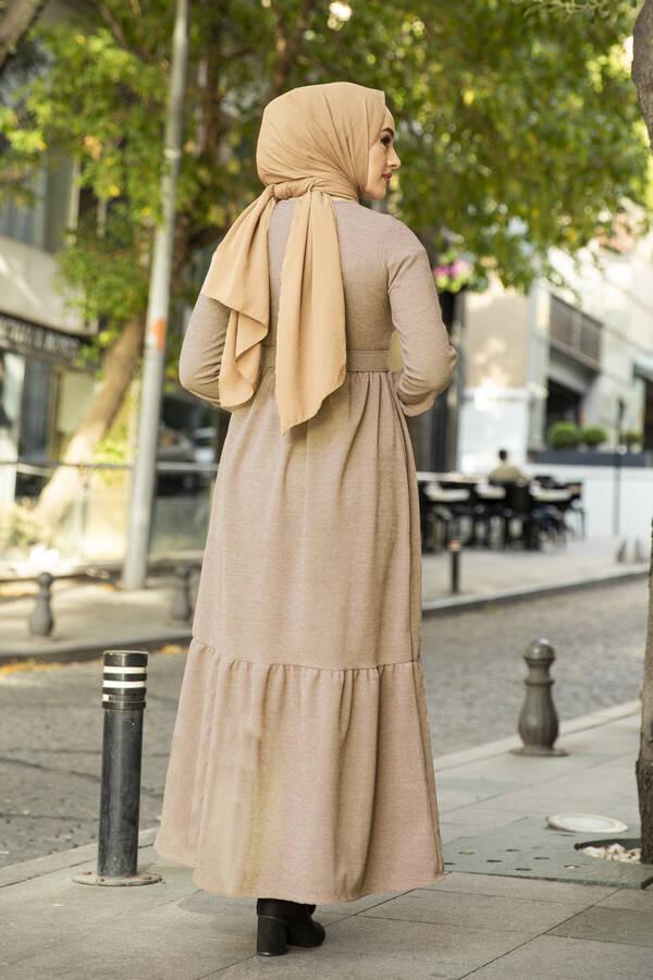 Düğme Detaylı Triko Elbise Bej