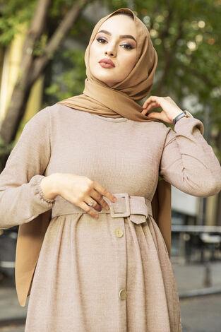 Düğme Detaylı Triko Elbise Bej - Thumbnail