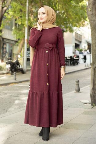 Düğme Detaylı Triko Elbise Bordo - Thumbnail