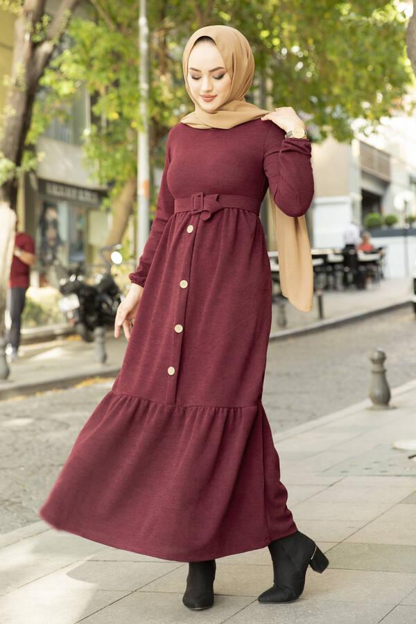 Düğme Detaylı Triko Elbise Bordo