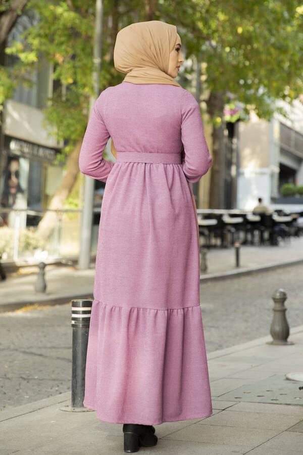 Düğme Detaylı Triko Elbise Gülkurusu