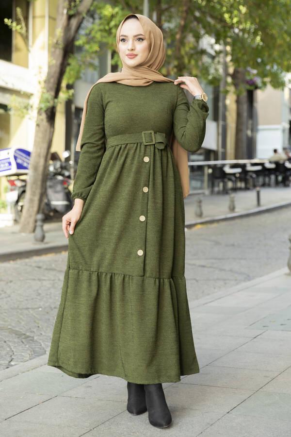 Düğme Detaylı Triko Elbise Haki