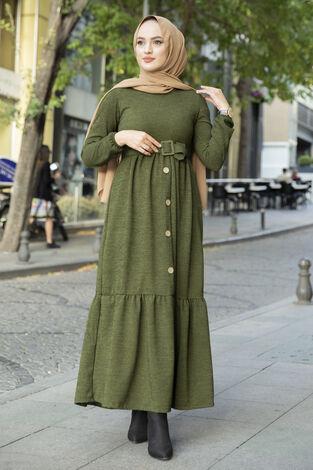 Düğme Detaylı Triko Elbise Haki - Thumbnail