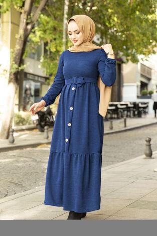 Düğme Detaylı Triko Elbise İndigo - Thumbnail