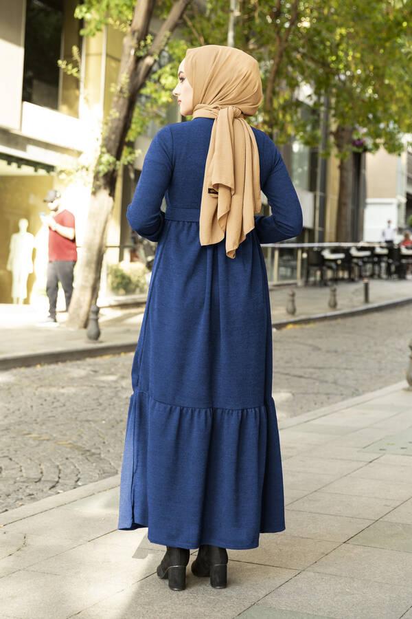 Düğme Detaylı Triko Elbise İndigo