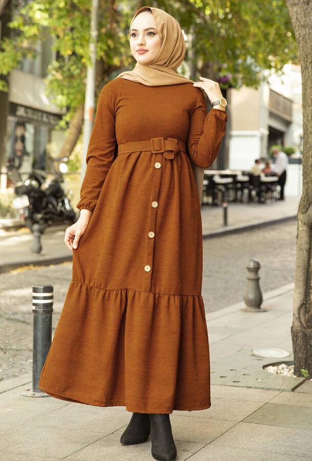 Düğme Detaylı Triko Elbise Kiremit