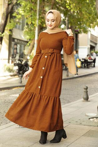 Düğme Detaylı Triko Elbise Kiremit - Thumbnail