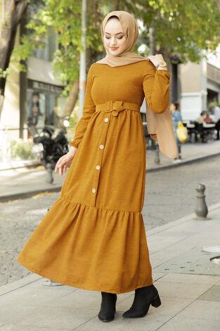 Düğme Detaylı Triko Elbise Taba - Thumbnail