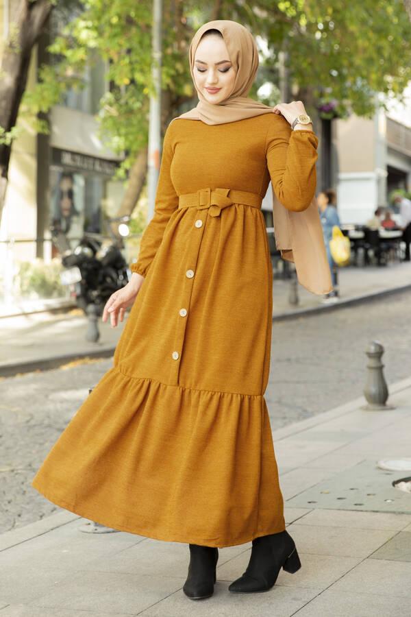 Düğme Detaylı Triko Elbise Taba