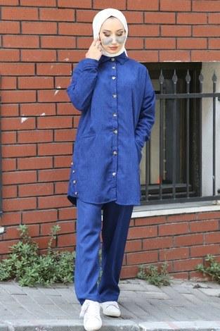 Düğmeli Kadife Takım 0520-08 - Thumbnail