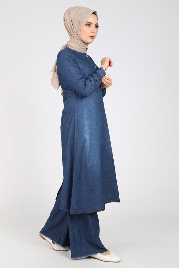 Düğmeli Uzun Kot Tunik 1454-1