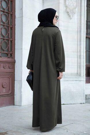 Düz Anne Ferace Elbise 565EN-3845 Haki - Thumbnail