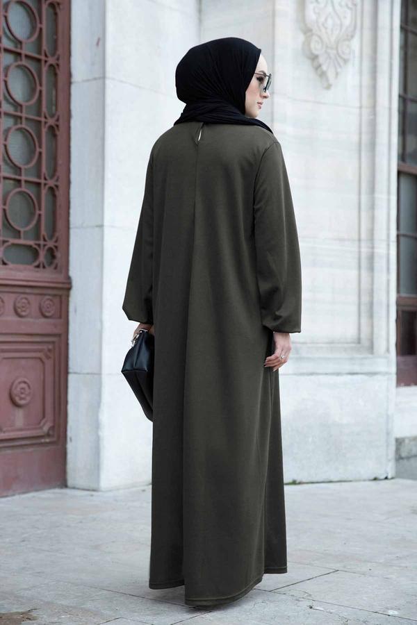 Düz Anne Ferace Elbise 565EN-3845 Haki
