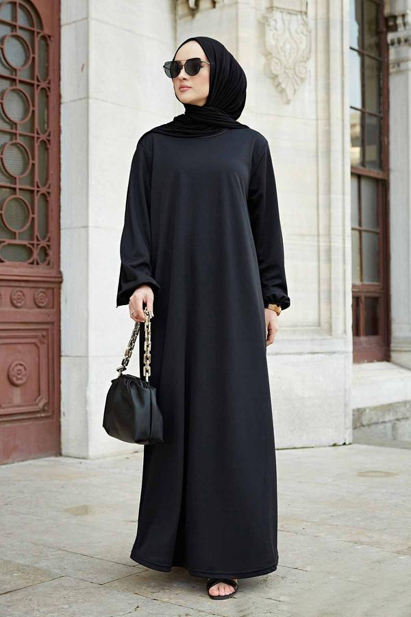 Düz Anne Ferace Elbise 565EN-3845 Siyah