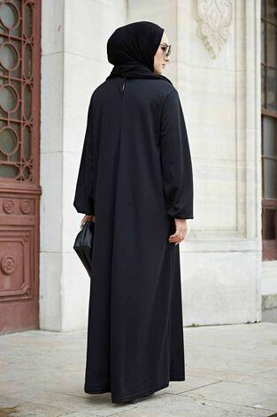 Düz Anne Ferace Elbise 565EN-3845 Siyah - Thumbnail